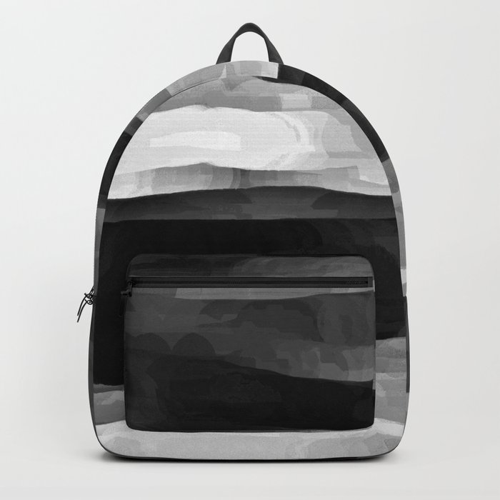 Glowing Smoky Abstract - Black and White Backpack