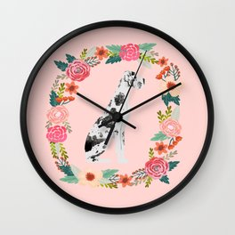 great dane dog floral wreath dog gifts pet portraits Wall Clock