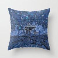 las vegas Throw Pillows featuring las vegas by Bekim ART