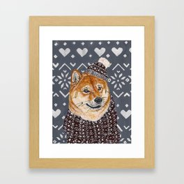 Shiba Inu in a  Hat and Scarf Framed Art Print