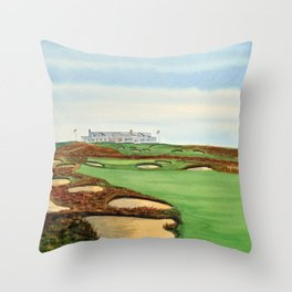 Shinnecock Hills Golf Course With Clubhouse Throw Pillow