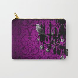 Bird & Purple Damask Sparkly Chandelier Silhouette Carry-All Pouch