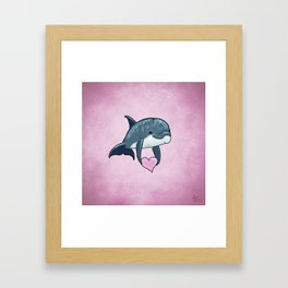 Love Ya! ~ Baby Dolphin by Amber Marine ~ Pink ~ (Copyright 2014) Framed Art Print