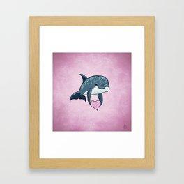 Love Ya! ~ Baby Dolphin by Amber Marine ~ Pink ~ (Copyright 2014) Framed Art Print