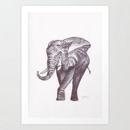 BALLPEN ELEPHANT 2 Art Print