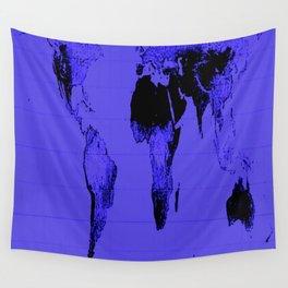 World Map: Gall Peters Indigo Purple Wall Tapestry