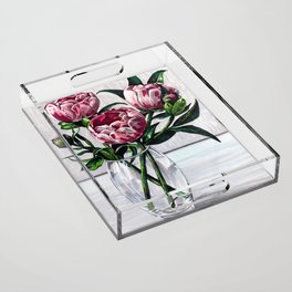 Peonies in a vase marers art Acrylic Tray