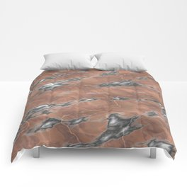 pink and grey marble texture Comforters