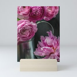 Ranunculus and Peony Flowers Still Life Mini Art Print