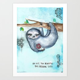 Rule Breaking Sloth Art Print