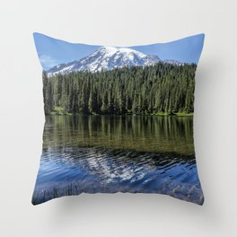 Ripples and Reflection, Mt Rainier Throw Pillow