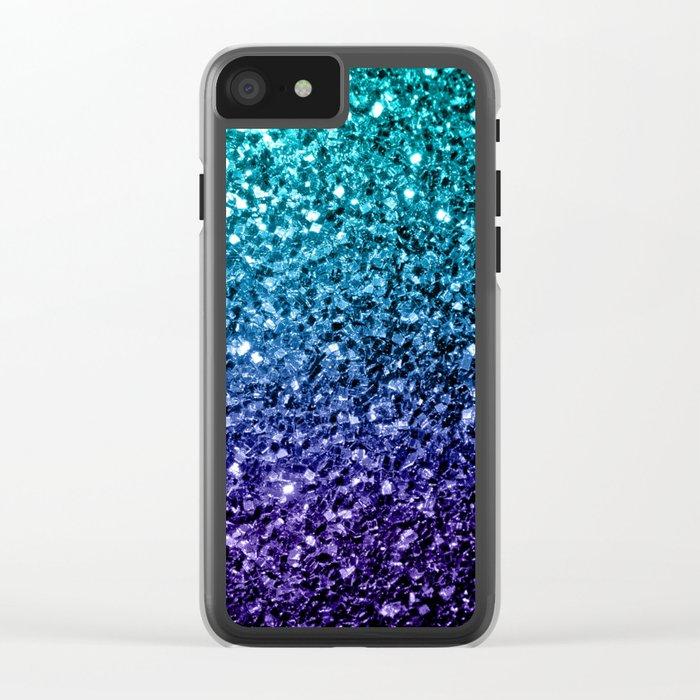 Beautiful Aqua blue Ombre glitter sparkles Clear iPhone Case
