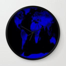 worlD Map Blue & Black Wall Clock