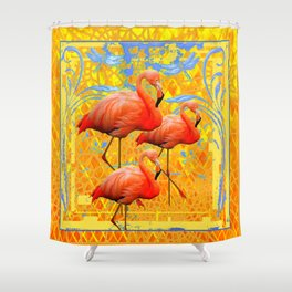 Tropical Golden-Blue Flamingos Wildlife Art Design Shower Curtain