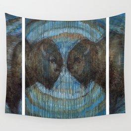 Buffalo Face Off Wall Tapestry