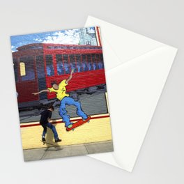 Skateboarders on a street mural, Louisville, Kentucky. Stationery Cards