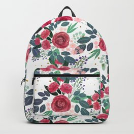 Cute Rose Pink Peonies Watercolor Paint Gold Dots Design Backpack