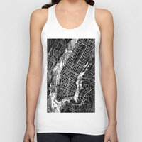 new york map Tank Tops featuring New York map by Bekim ART