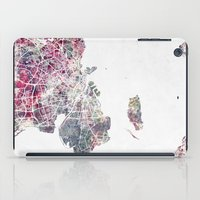 copenhagen iPad Cases featuring Copenhagen map by MapMapMaps.Watercolors