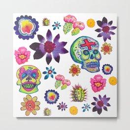 Fiesta Flores and Calaveras Metal Print