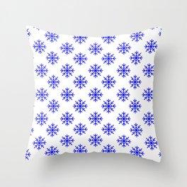 Snowflakes (Blue & White Pattern) Throw Pillow