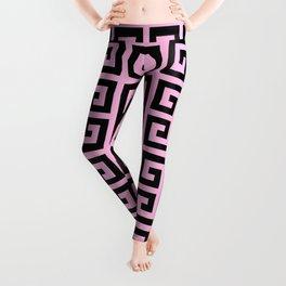 Greek Key (Pink & Black Pattern) Leggings