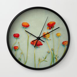 Red Ranunculus Flowers Wall Clock