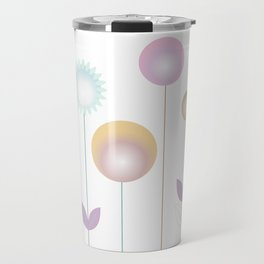 abstract stylized flowers in pink gold ochre Travel Mug