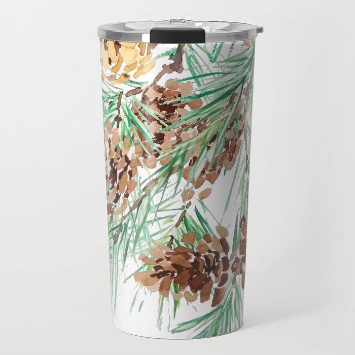 pine cones watercolor Travel Mug