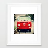 vw bus Framed Art Prints featuring Red VW Bus by Anna Dykema Photography