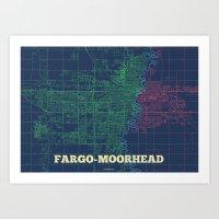 fargo Art Prints featuring Fargo-Moorhead Street Map by CartoPosters Maps