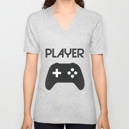 Player Text and Gamepad Unisex V-Neck