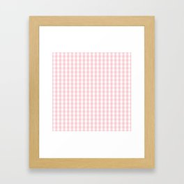 White and Light Millennial Pink Pastel Color Gingham Check Framed Art Print