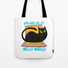 Hello World Programmer Cat Lover Tote Bag