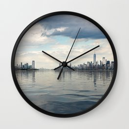 Dramatic widescreen panorama of NYC Wall Clock