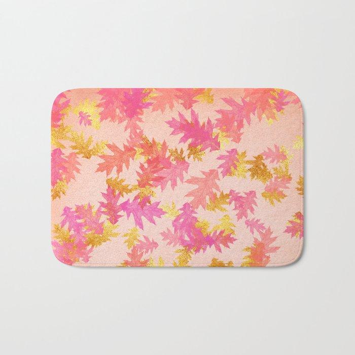 Autumn-world 1 - gold glitter leaves on pink background Bath Mat