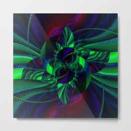 Digital Flower green and blue no. 2 Metal Print