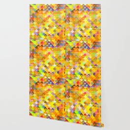 geometric square pixel and circle pattern abstract in yellow orange red blue Wallpaper