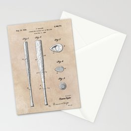 patent Taylor Streamlined baseball bat or the like 1938 Stationery Cards