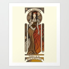 Steampunk Nouveau- Cream Art Print
