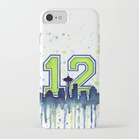 seahawks iPhone & iPod Cases featuring Seattle 12th Man Art Skyline Watercolor  by Olechka