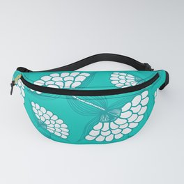 African Floral Motif on Turquoise Fanny Pack