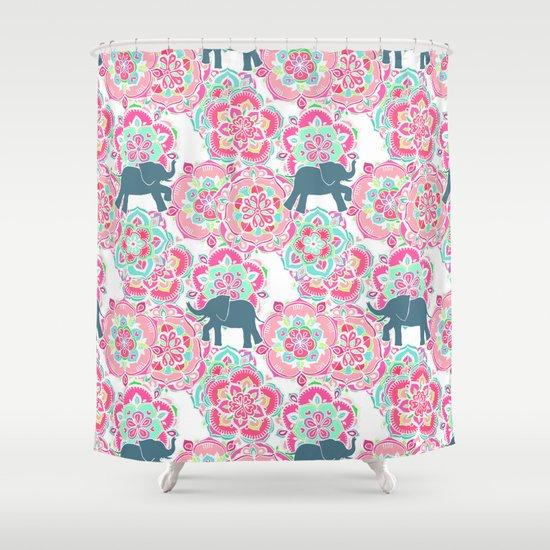 Tiny Elephants in Fields of Flowers Shower Curtain