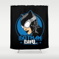 gotham Shower Curtains featuring Gotham Girl by Buby87