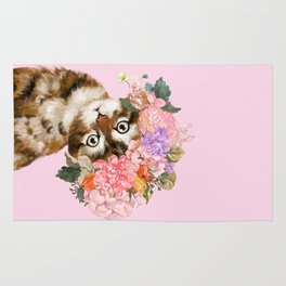 Baby Cat with Flower Crown Rug