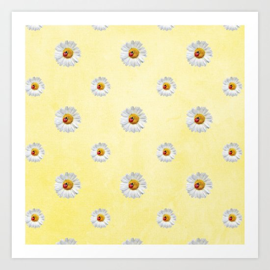 Daisies in love- Yellow Daisy Flower Floral pattern with Ladybug on #Society6 Art Print