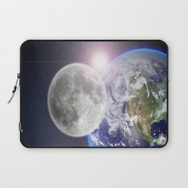 Space Travel Earth Moon Laptop Sleeve