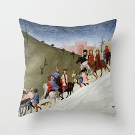 The Journey of the Magi (ca 1433-35) by Stefano di Giovanni Throw Pillow