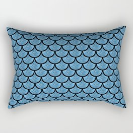 Blue mermaid  scale with  glitter effect Rectangular Pillow
