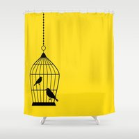 nicolas cage Shower Curtains featuring Birds Cage by Sasha Ahuja